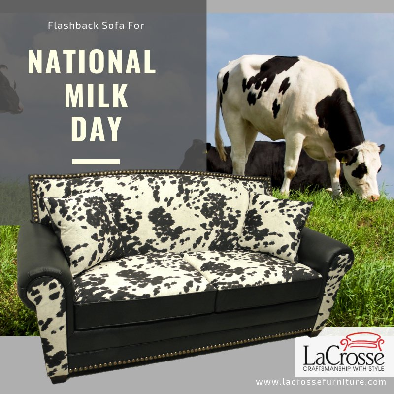 #FlashbackFriday for #NationalMilkDay with the 801 sofa from January 2014 #furnituremarket in #Vegas.  Check out our current styles at http://www.lacrossefurniture.com.  #MADEinUSA #Throwback #furniture #lacrosse #Kansas #MILK #MilkDay