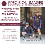 We showed off our awesome delivery drivers & dispatcher the other day, now it's our Bike Messengers turn - Say hi to Candace and Gus! They pedal all over downtown with our deliveries, which saves gas and lessens congestion. #bikemessengersrule #precisionimages #shortsinwinter
