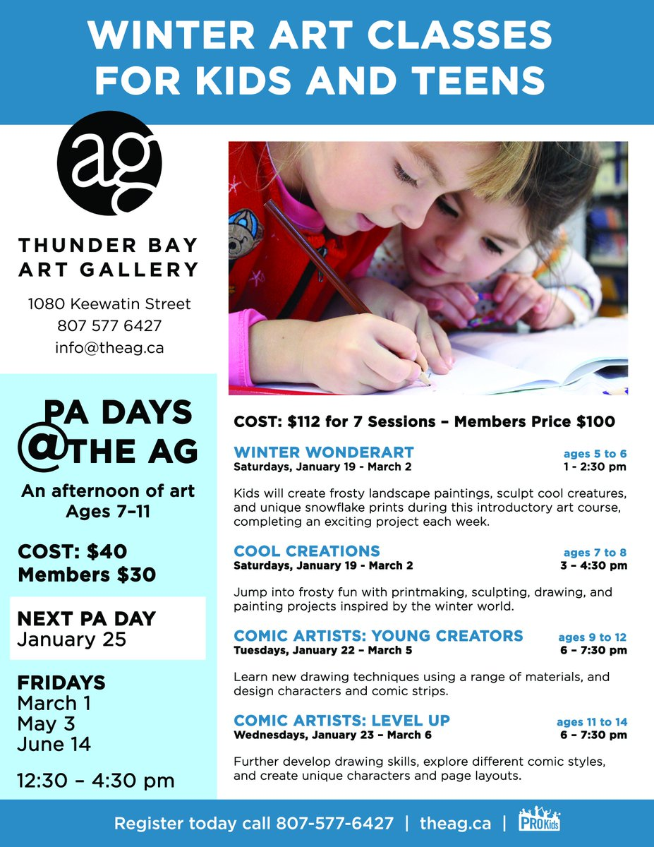 Sign your kids up for our fantastic ❄️ Winter ❄️ Art classes for kids ages 5 to 14. Visit http://www.theag.ca  for more info.