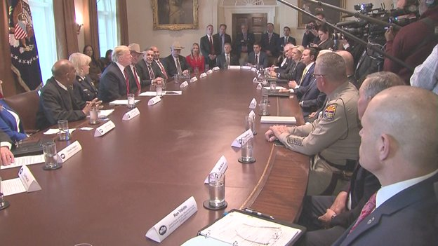 "Pres ridicules news media for reporting 'about Nancy Pelosi saying it's immoral to have a wall."" 'What's immoral is what's going on,' says @POTUS, citing criminals, drug smuggling and human trafficking crossing border. 'You're fake news,' he tells press covering his photo op."