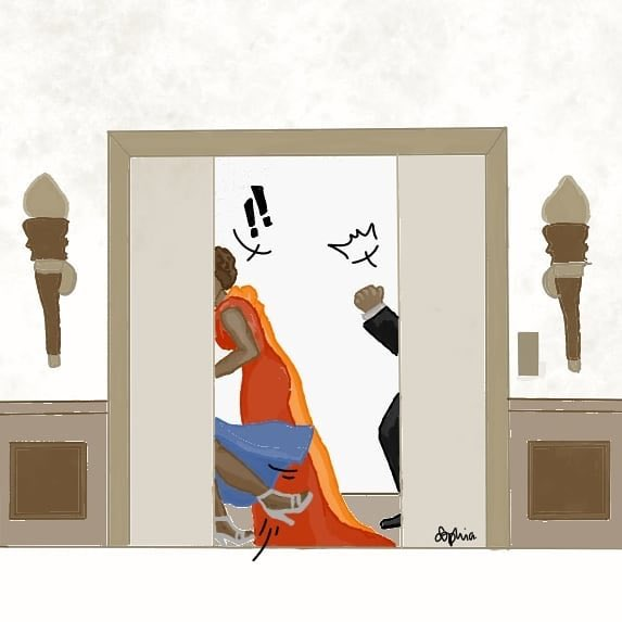 The truth behind the doors. Caption this. #FanArtFriday @lladysof #FBF #InstyleElevator #GoldenGlobes  <br>http://pic.twitter.com/KYf7JhIj70