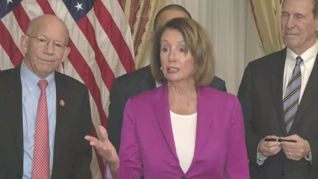 Pelosi again accused Pres Trump of throwing a temper tantrum in shutting down part of the Government to get funding for a border wall. 'I'm a mother of five and grandmother of nine. I know a temper tantrum when I see one,' said the Speaker.
