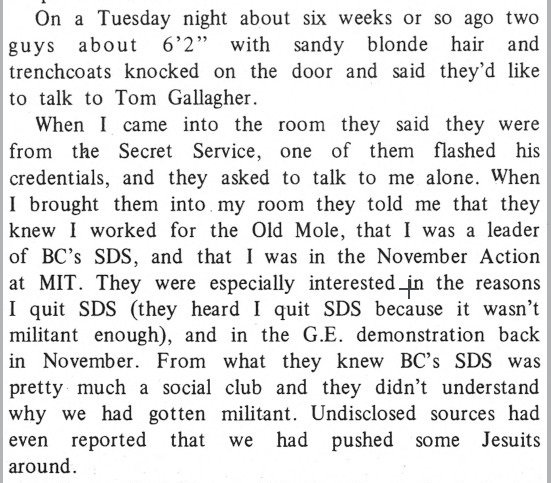 @behr_bones In 1970 Secret Service agents showed up to question a BC student in SDS.