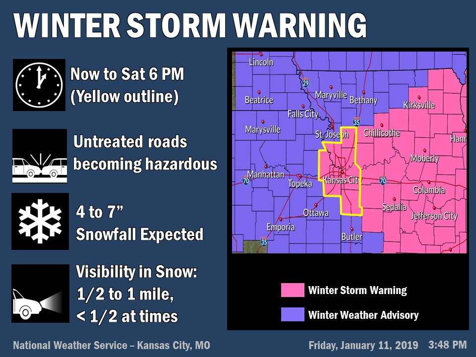 The Winter Storm Warning has been extended into the KC Metro area, valid now through 6PM Saturday.  Moderate to heavy snow will lighten up around sunrise, but light snow will continue through the early afternoon on Saturday. <br>http://pic.twitter.com/t42e1XxuQl