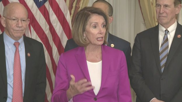 """.@NancyPelosi says WH and Congress should be having negotiations to end the shutdown. She cites the three  m@POTUSeetings with Congressional Leaders, but says, 'I think the last one was a staged affair so the president could walk out."""""""