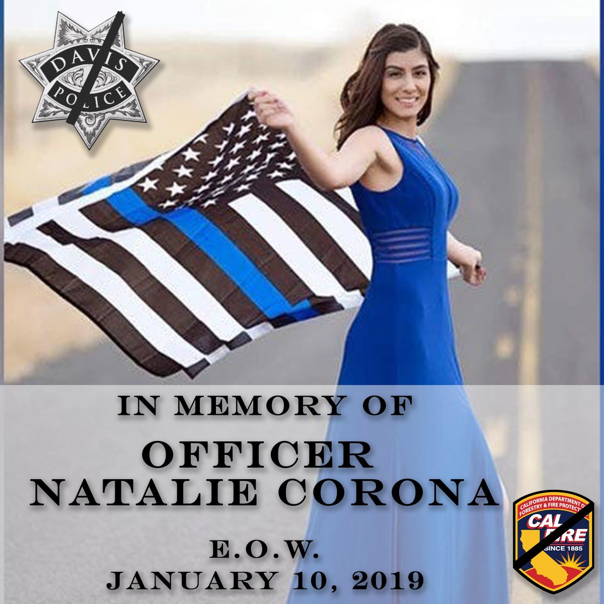 Please join us in keeping the Davis Police Department and the friends and family of Officer Natalie Corona in your thoughts as we mourn this heartbreaking loss. <br>http://pic.twitter.com/PBWXQMzERb