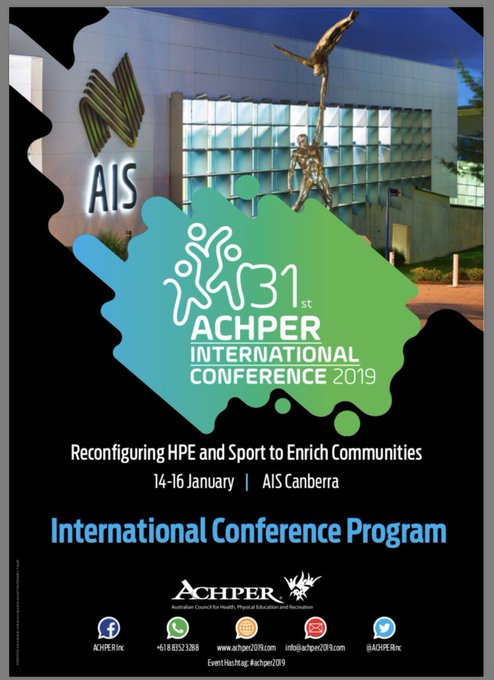 Looking forward to presenting & learning at the #ACHPER2019 conference at the AIS next week Photo