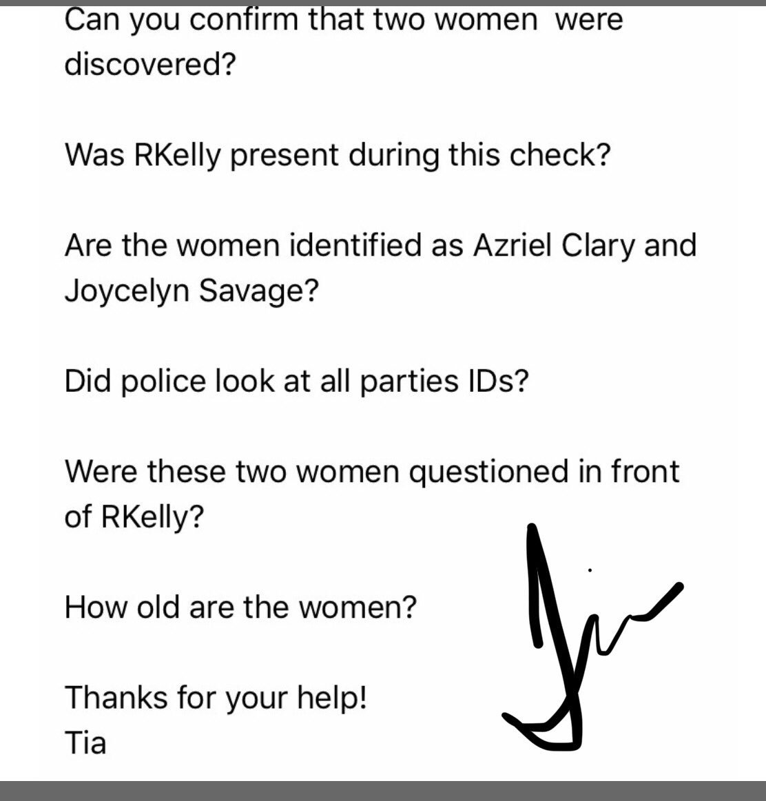 Here's the response from the @Chicago_Police based on my follow-up questions regarding two women found in #RKelly's residence with him at Trump Tower this morning. First picture shows my questions, second is CPD's response. #SurvivingRKelly @fox32news