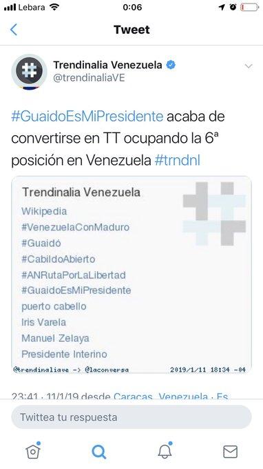 A esta hora se convierte en tendencia el hashtag #GuaidoEsMiPresidente Photo
