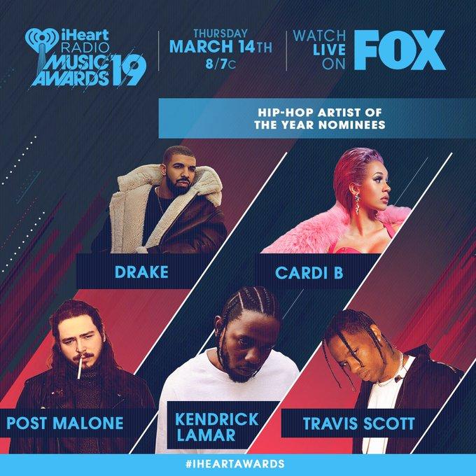 ¡Mira los nominados para Artista Hip-Hop del Año! ❤️ No te pierdas los #iHeartAwards el 14 de marzo por @FOXTV ภาพถ่าย