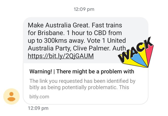I finally got my Clive Palmer txt and thanks yes of course the link is problematic thanks for preemptively blocking it for me Photo
