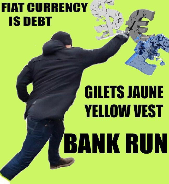 This is only the beginning! The people is finally starting to realize! Long #bitcoin short banks #GiletsJaunes #yellowvests #bankrun<br>http://pic.twitter.com/Bj1FcZHX5G