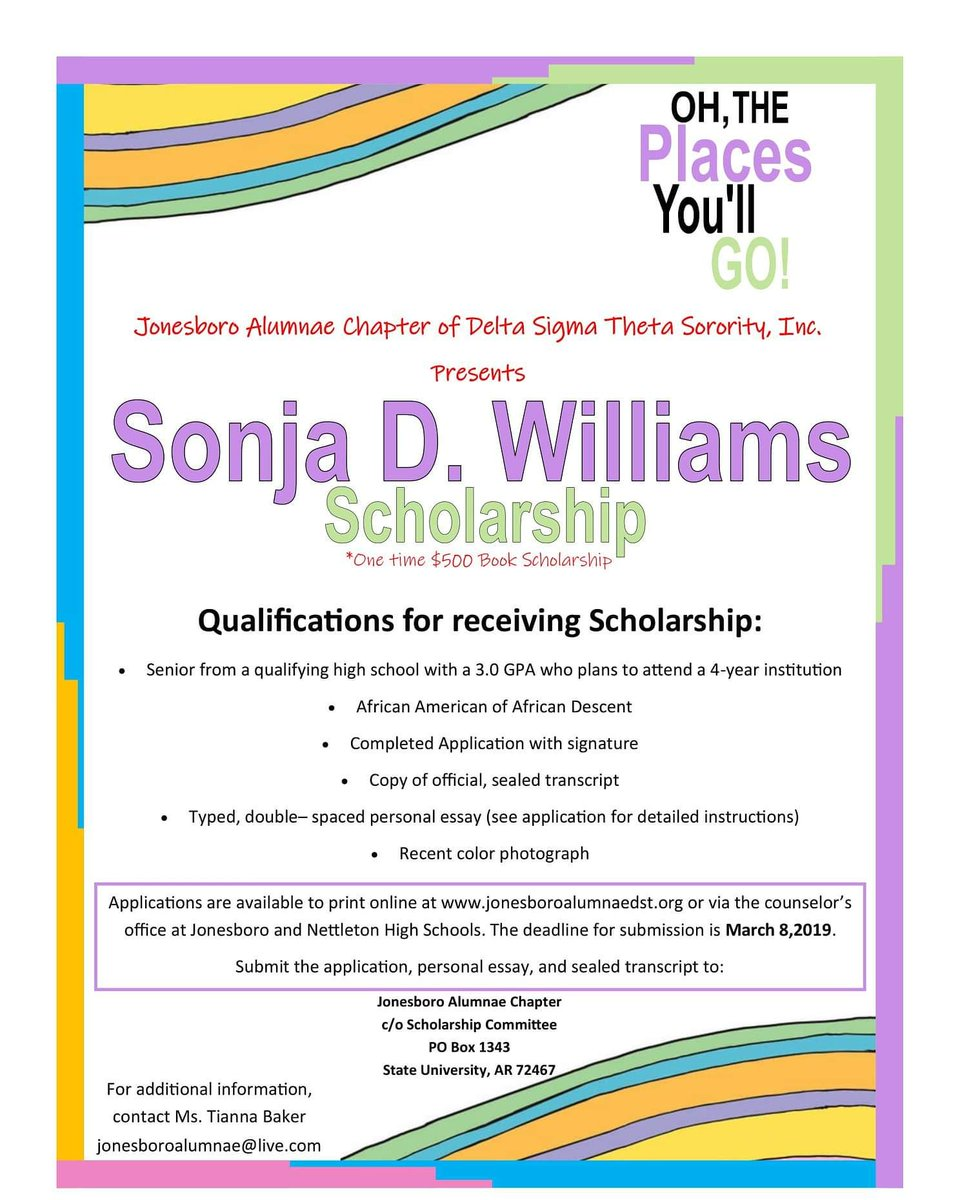 We are now accepting applications for the 2019 Sonja D. Williams Scholarship. Visit our website at  http://www. jonesboroalumnaedst.org     to download the application. Applications will be available to guidance counselors at area high schools. #ServiceInOurHeart #DST1913 #educationaldevelopment<br>http://pic.twitter.com/XllWXkaTXD