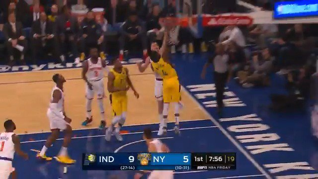 'OHHH, OLADIPO!' ��  11-2 @Pacers run early in Q1 on @ESPNNBA   #Pacers 13 #NewYorkForever 5 https://t.co/dwhBHlwH7f