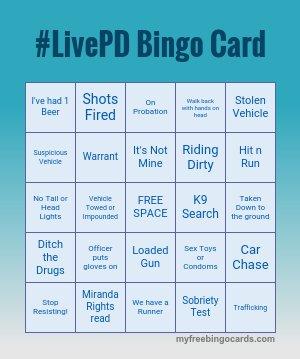@OfficialLivePD @LivePDNation @LivePdFans I have my card ready for LivePDBINGO! #livepd #LivePDNation #LivePDFriday <br>http://pic.twitter.com/l1jHbrXLFW