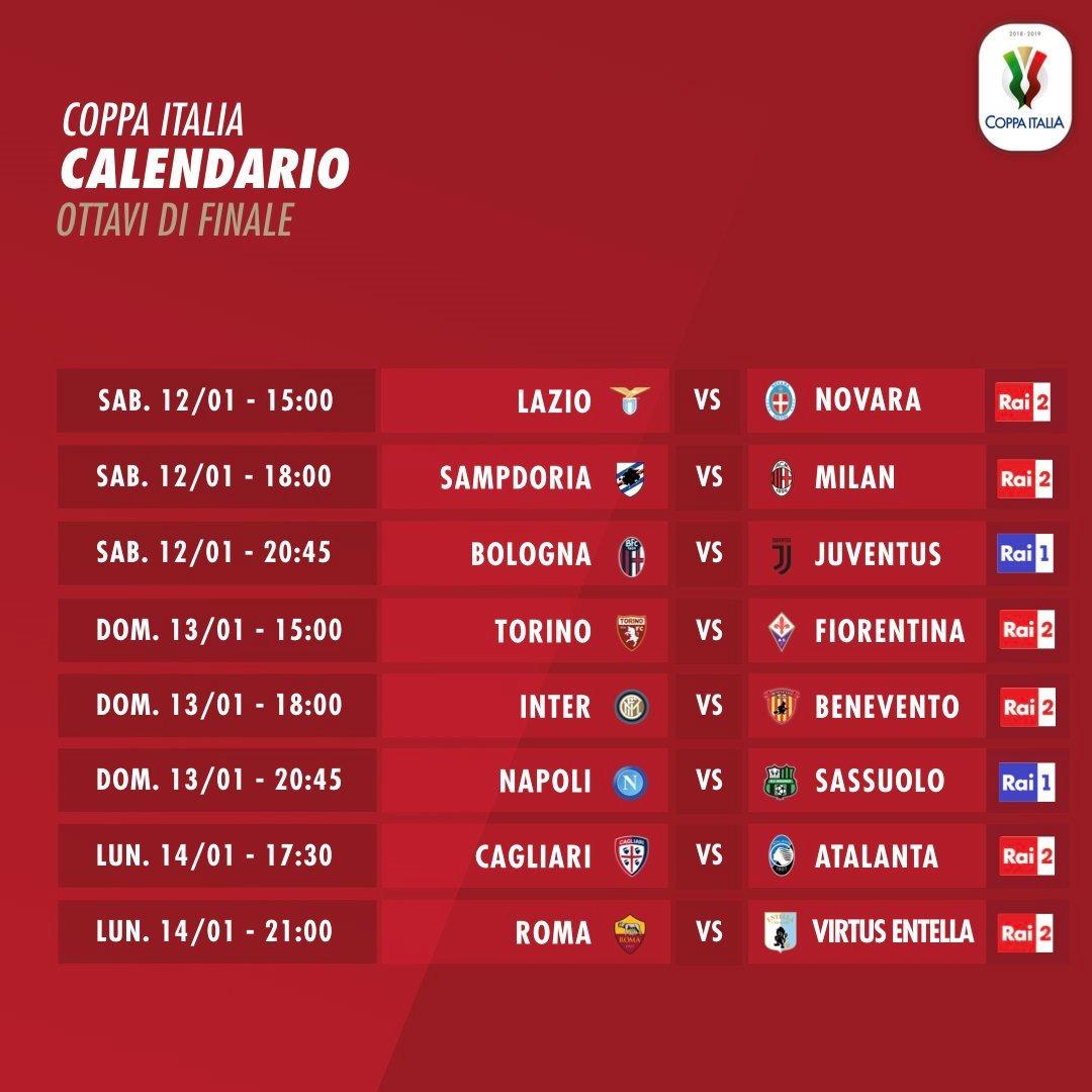 Este sábado se reanuda la acción del #Calcio, con los 8vos. Final de la #CoppaItalia. Todos los encuentros serán transmitidos por #Directv, en sus canales 612 y 1612 HD. (-5 horas en Vzla.).