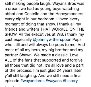 24 years ago today, 'The Wayans Bros' show premiered. Marlon Waynes took to his IG to slide down memory road ✨