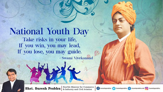 On this National Youth Day, I urge the youth of India to awaken, arise and accelerate your dreams until realized! #NationalYouthDay #SwamiVivekananda Photo