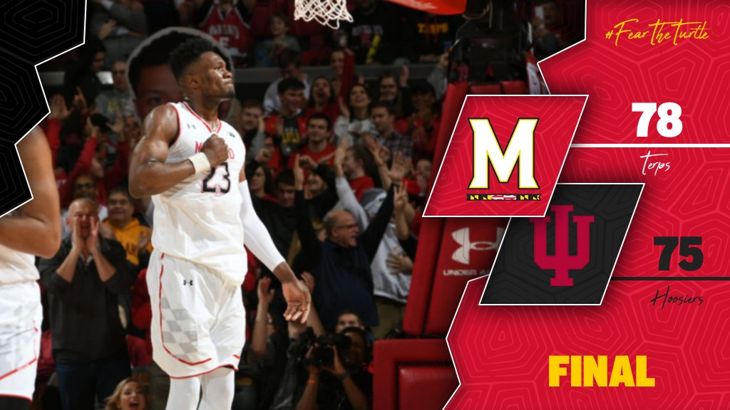 [ FINAL ] #Terps 78, #22 Indiana 75  This chapter goes to us! #FearTheTurtle