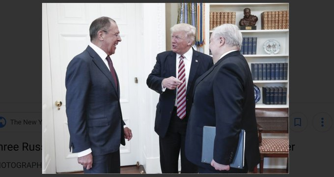 . The very next day after he fired FBI dir Comey, Trump welcomes Sergei Lavrov, Russian foreign minister, and Sergey Kislyak, Rus ambasdor to US-- into our Oval Office. No American is invited. Trump has done more to benefit Russia than the 2 Russians combined. #TrumpRussia Photo