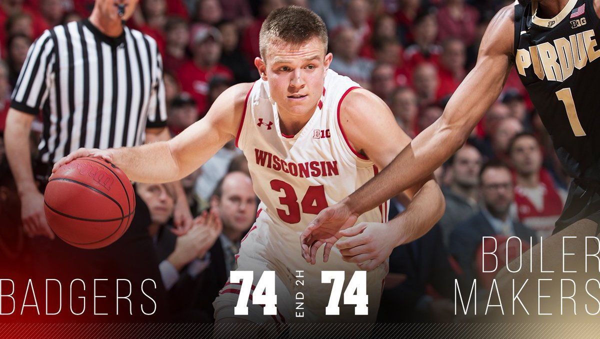 Forty minutes wasn&#39;t enough  Headed to overtime in Madison  #OnWisconsin // #Badgers<br>http://pic.twitter.com/ehDpQEXWlQ