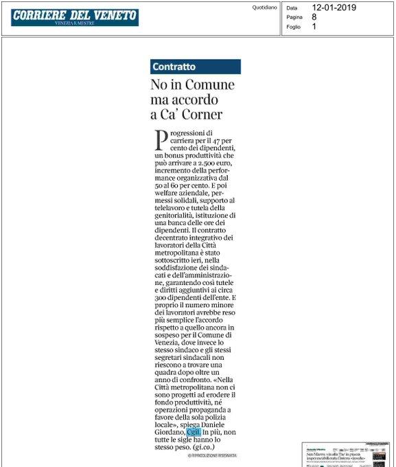 Nuovo decentrato @CMVenezia - Siamo molto soddisfatti: previste progressioni per il 47% del personale, più peso a performance organizzativa, garantita la produttività, estensione dei diritti. #12gennaio Photo
