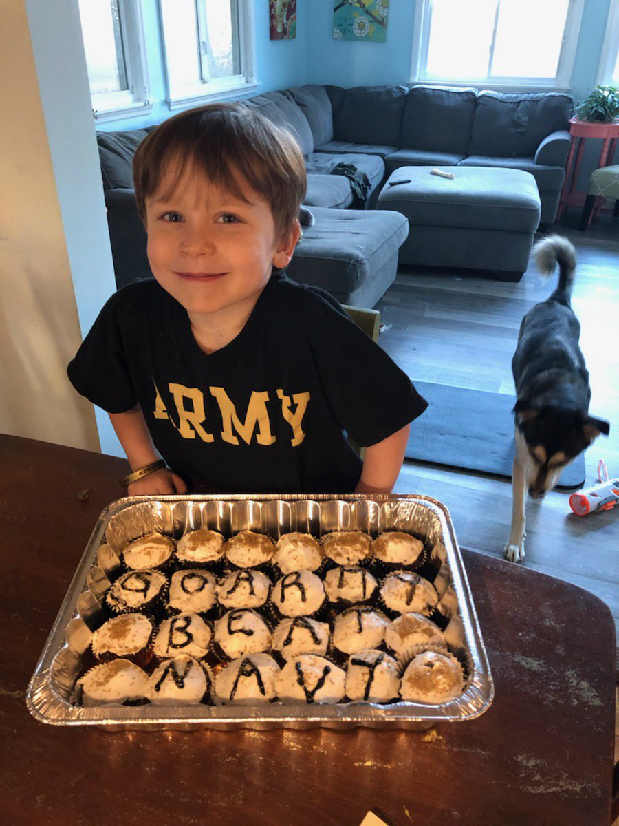 @salinterdonato @ArmyWP_Football @WestPoint_USMA @CoachJeffMonken My son Asher, Army Footballs biggest little fan, requested his mother bake Army Football cupcakes for his 5th birthday. Raising them right!
