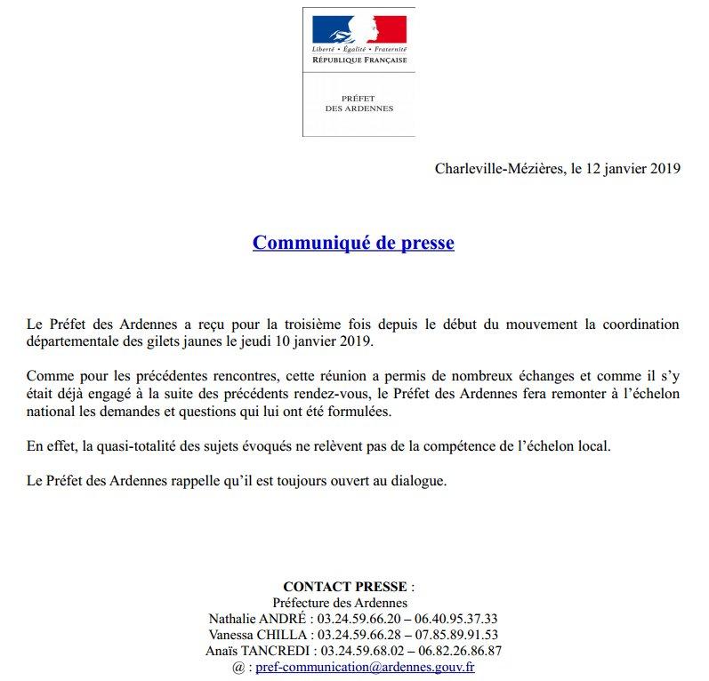 #12Janvier 🗣️ Communiqué de presse de Pascal Joly, Préfet des Ardennes. @COZ_EST