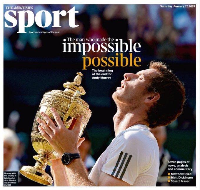 """The Times'ın bugünkü manşeti. """"İmkânsızı mümkün kılan adam"""". İskoç tenisçi 76 yıl aradan sonra Grand Slam kazanan ilk Britanyalı erkek raket olmuştu US Open'ı alıp. Ertesi yıl 2013'te de 77 yıllık Britanya acısına son verip Wimbledon kupasını getirmişti tek erkeklerde. Photo"""