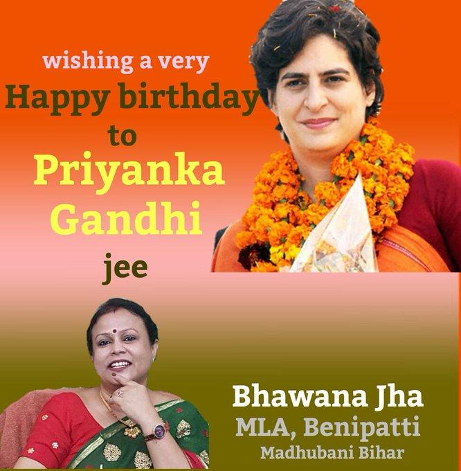 Wishing a very Happy birthday to Priyanka Gandhi jee