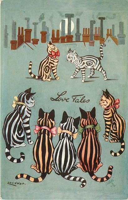 """Love Tales"" featuring some very handsome Louis Wain felines for #Caturday. Photo"