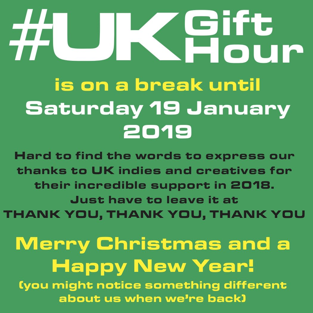We&#39;re officially back next week with a new name and new hours (let UKGiftAM be a clue) - more details as the week unfolds  We&#39;re looking forward to all your #giftideas and chat again! #UKGiftHour #UKGiftAM #shopindie<br>http://pic.twitter.com/XGwEgic106