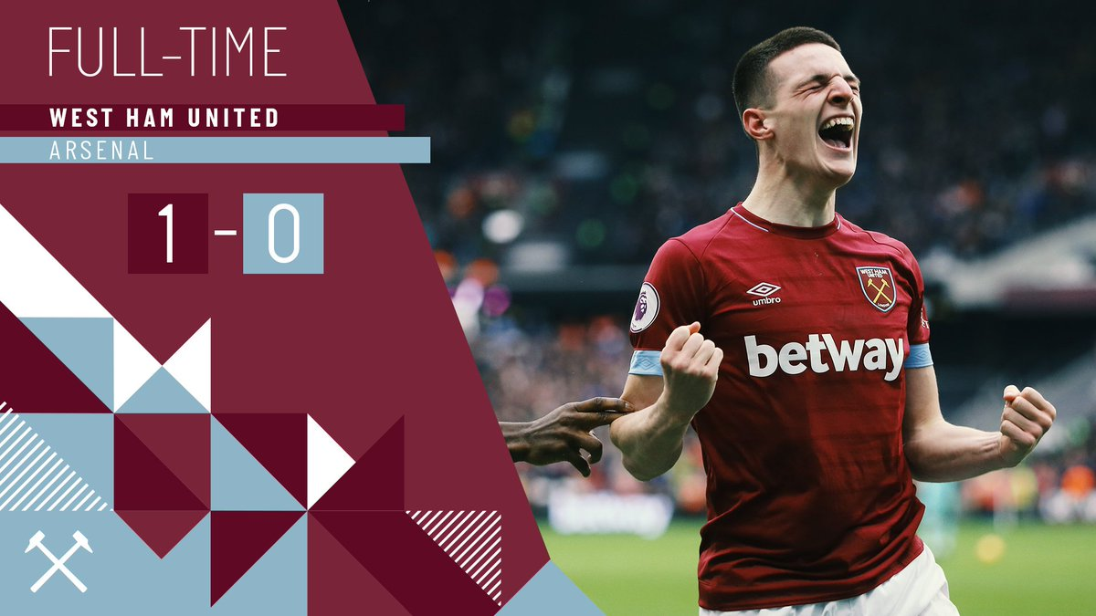 WHAT a result!  Declan Rice's first goal for the Club gives us a superb victory over Arsenal 🙌  #WHUARS #COYI https://t.co/d2bebiZmqm