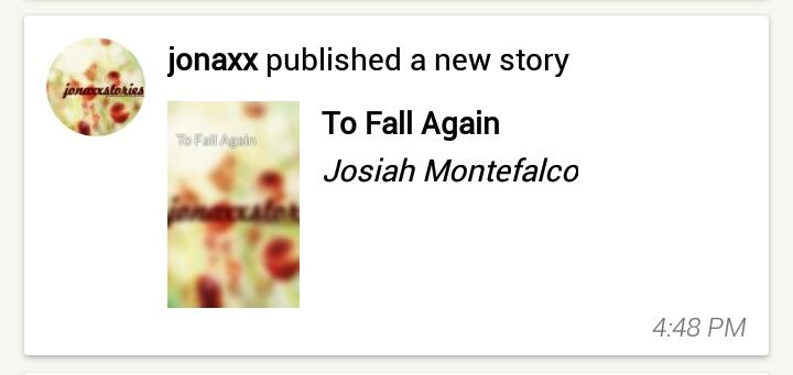 jonaxx published a new story To Fall Again (Josiah Montefalco) 01.12.19 #MSERIES2019 <br>http://pic.twitter.com/5BfP68392A