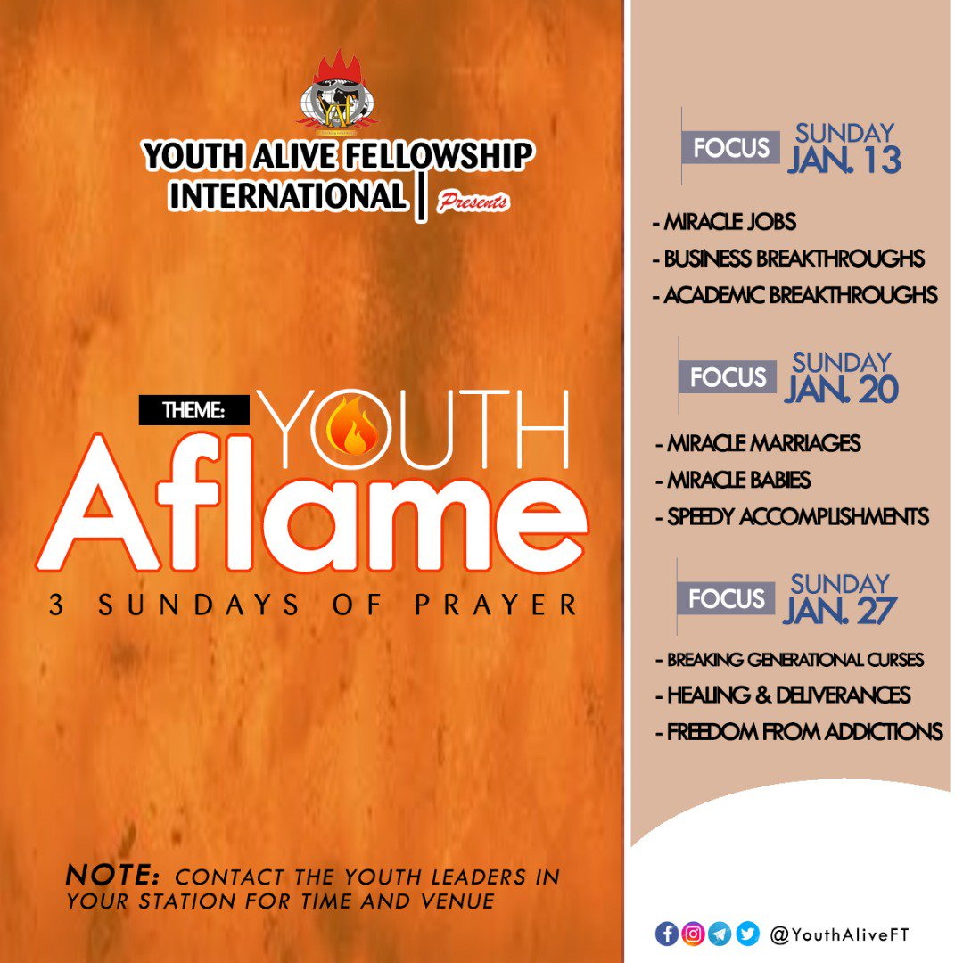 Winners Youth Alive On Twitter Lfcwwyouths Presents Youth Aflame 2019 3 Special Sundays Of Prayers Contact The Youth Leaders In Your Station For More Details Https T Co B1tlf1rtyx