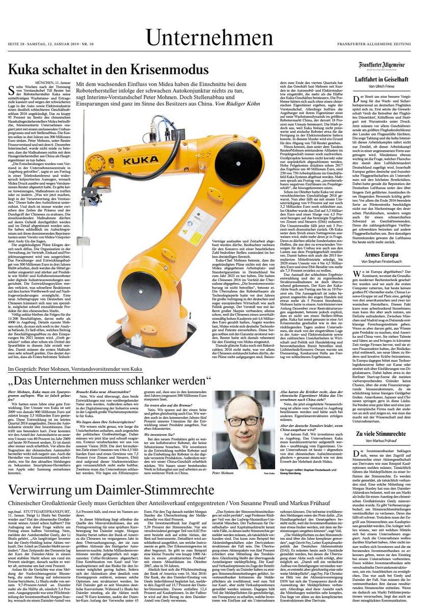 #Marktnews #Roboter #Kuka #I40 #Digitalsierung Quelle: FAZ 12.1.19
