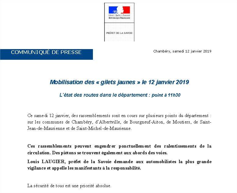 #12Janvier l Rassemblements en cours sur quelques communes de #Savoie.  Point de situation à 11h30 👇