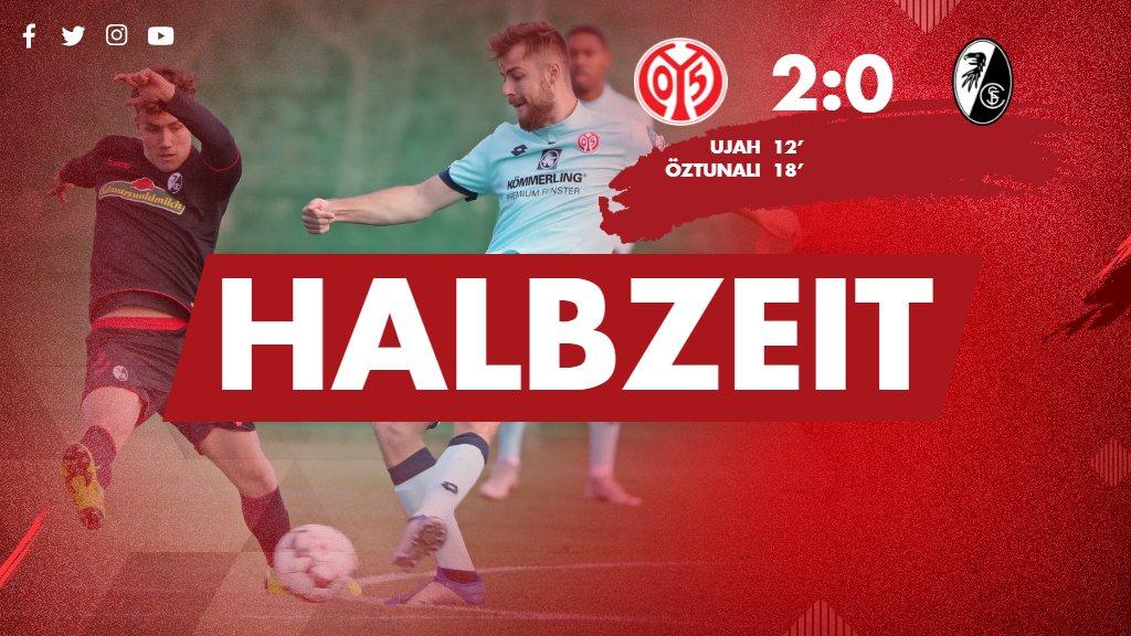 Halbzeit im ersten Test des Tages: #Mainz05 führt zur Pause mit 2:0. #M05SCF