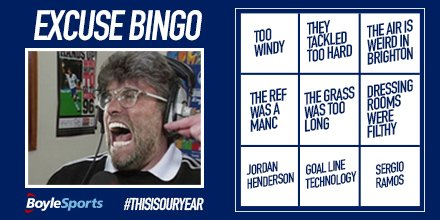 If they drop points today we can all play Liverpool Excuse Bingo! #BHALIV Photo