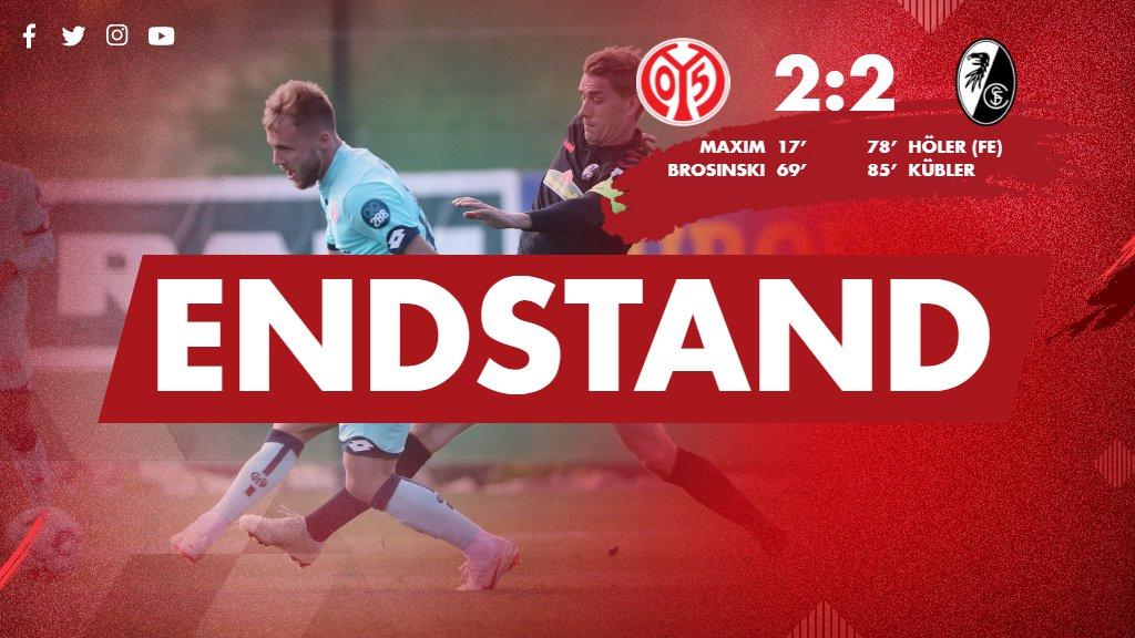 Auch der zweite Vergleich zwischen #Mainz05 und dem @SCFreiburg endet 2:2. #M05SCF
