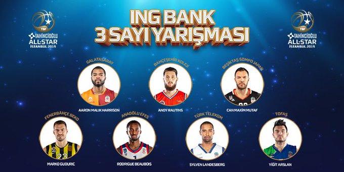 3 sayı yarışmasında yer alacak oyuncular! 🏀 #TahincioğluAllStar2019 Fotoğraf