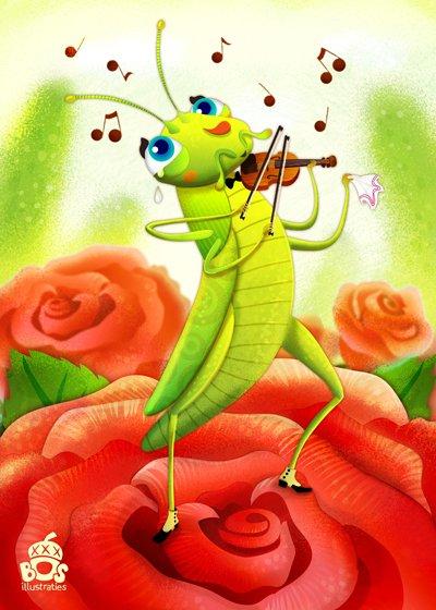 Картинка кузнечик играет на скрипке