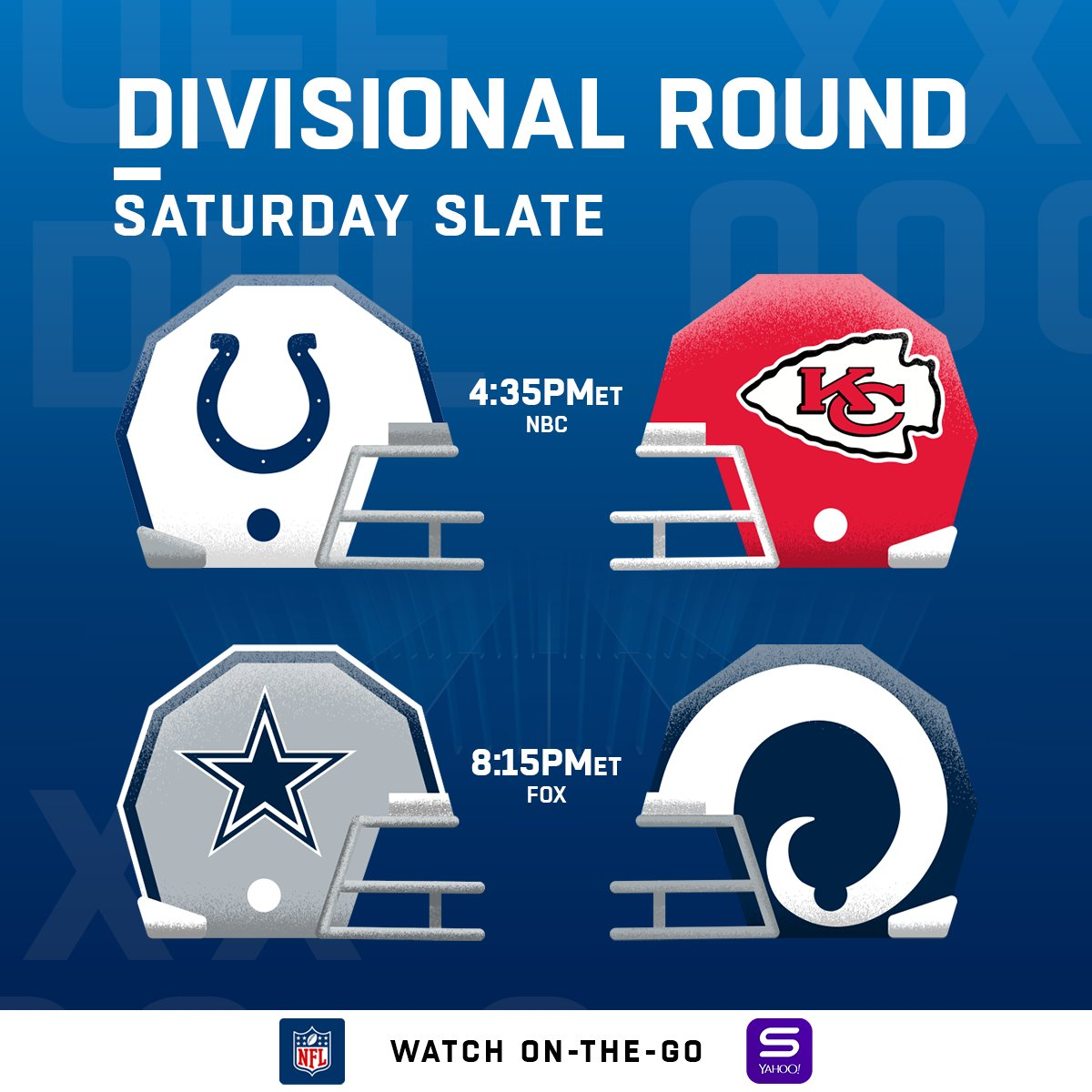 The Divisional Round is HERE! #NFLPlayoffs https://t.co/mulKHKdlv5