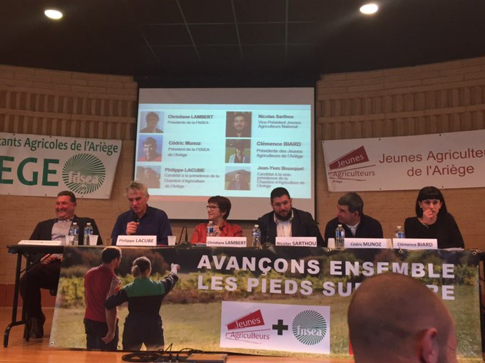 [#ECA2019] #lespiedssurterre en Ariège ! « Le monde bouge très vite. Nous avons fait le pari du courage et du réalisme en regardant le monde tel qu'il est. Prenons le taureau par les cornes en saisissant les opportunités. A tous, on peut tout, c'est notre force» @ChLambert_FNSEA Photo