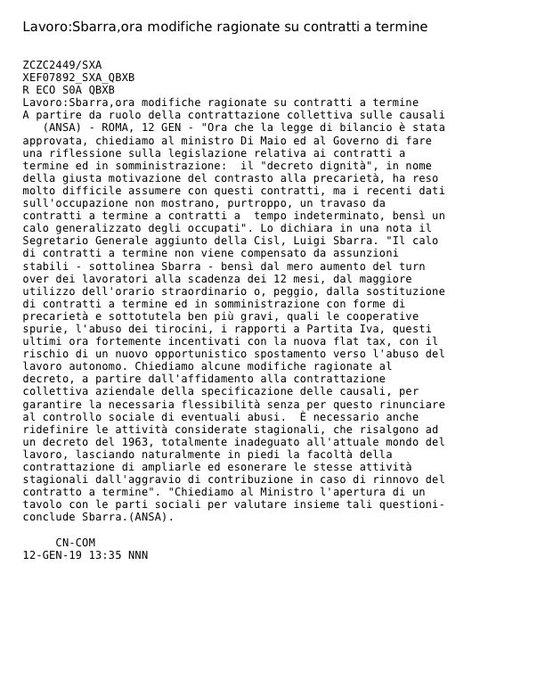 #12gennaio Lavoro, Luigi Sbarra: ora modifiche ragionate sui contratti a termine, a partire dal ruolo della contrattazione collettiva sulle causali. Chiediamo al Ministro @luigidimaio l'apertura di un tavolo con le parti sociali per valutare insieme tali questioni Photo