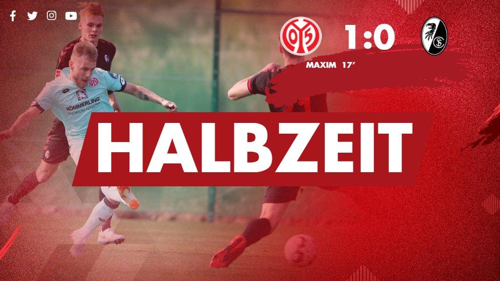 Halbzeit im zweiten Test: diesmal liegt #Mainz05 dank des Treffers von Maxim mit 1:0 vorne. #M05SCF
