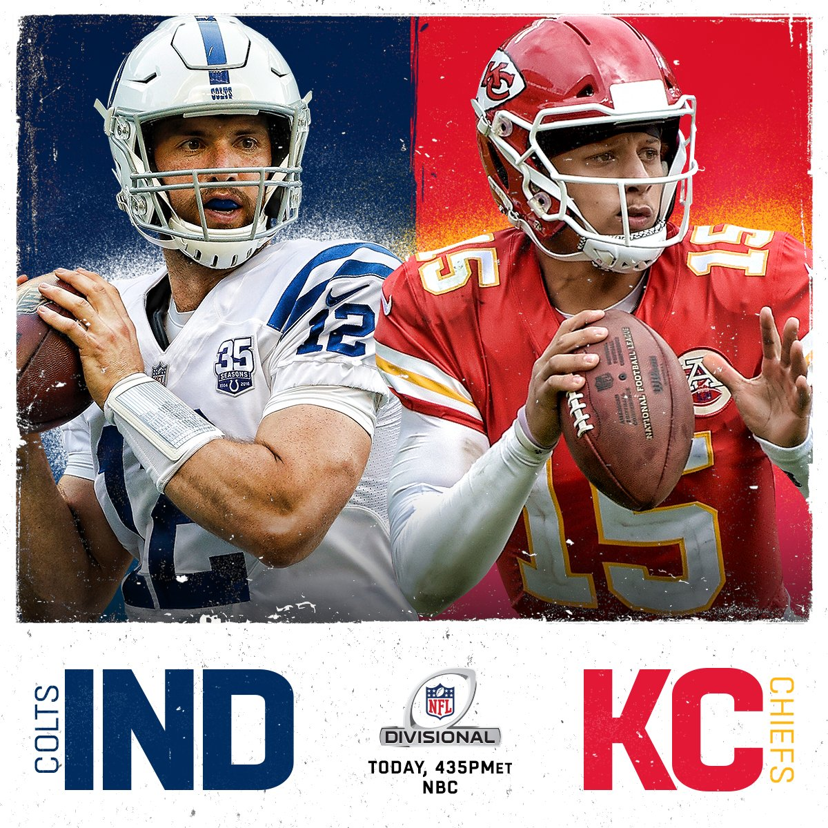 Kicking off the Divisional Round with @Colts vs. @Chiefs! #ColtsForged #LetsRoll  ��: #INDvsKC | 4:35pm ET on NBC https://t.co/dyCLXd6tJp