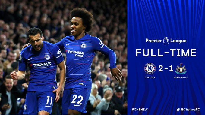 Back to winning ways! 🙌 Goals from @_Pedro17_ and @willianborges88 ensure the three points belong to Chelsea today! ⚽️⚽️ #CHENEW Photo