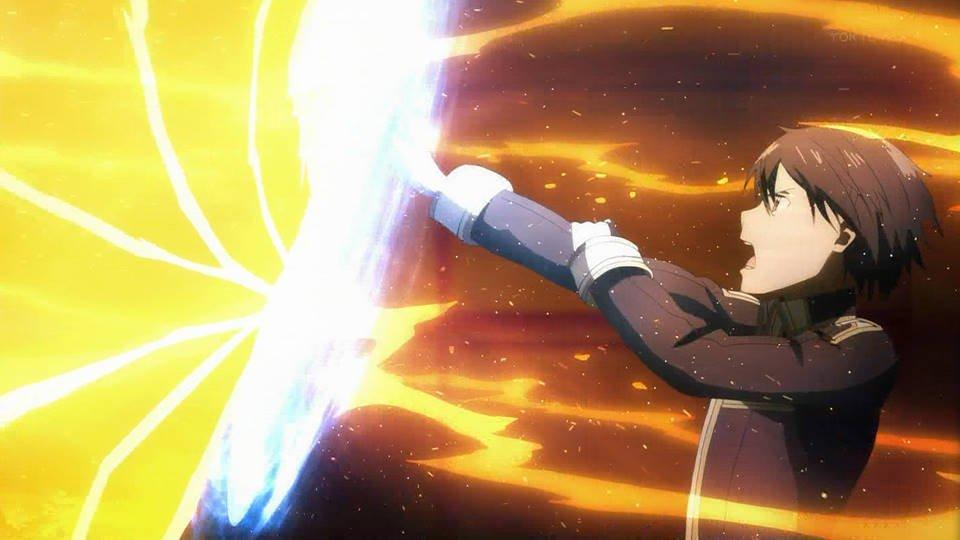 キリトの剣くるくる回転すごすぎる #sao_anime https://t.co/w3d2JOHB7K