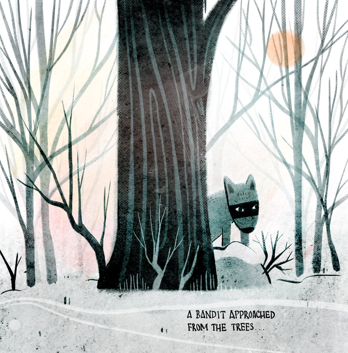A bandit approached from the trees... #kidlitart #picturebookart #wolf<br>http://pic.twitter.com/A0K5x3QQD7